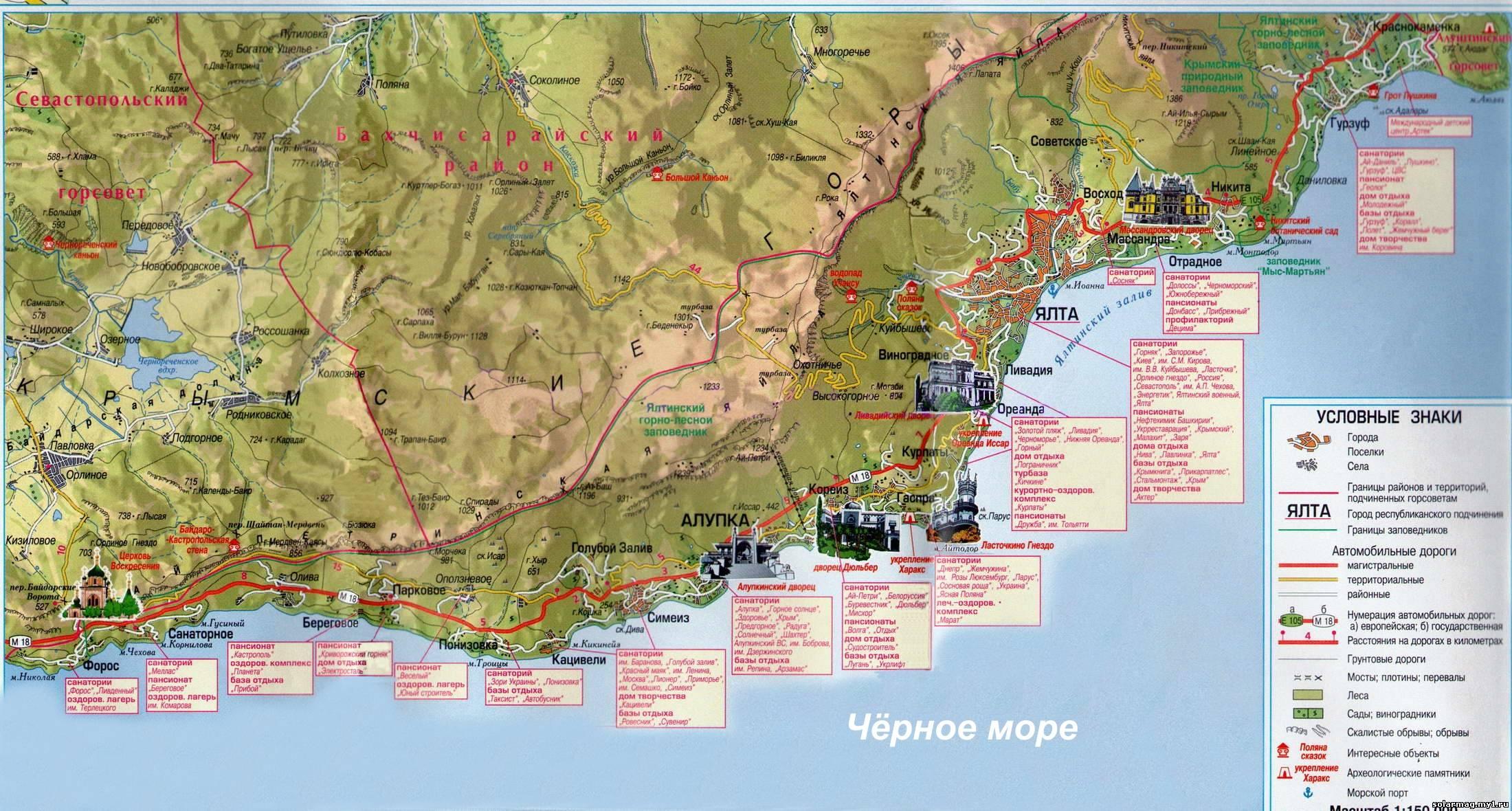 Карта схема ялты с улицами